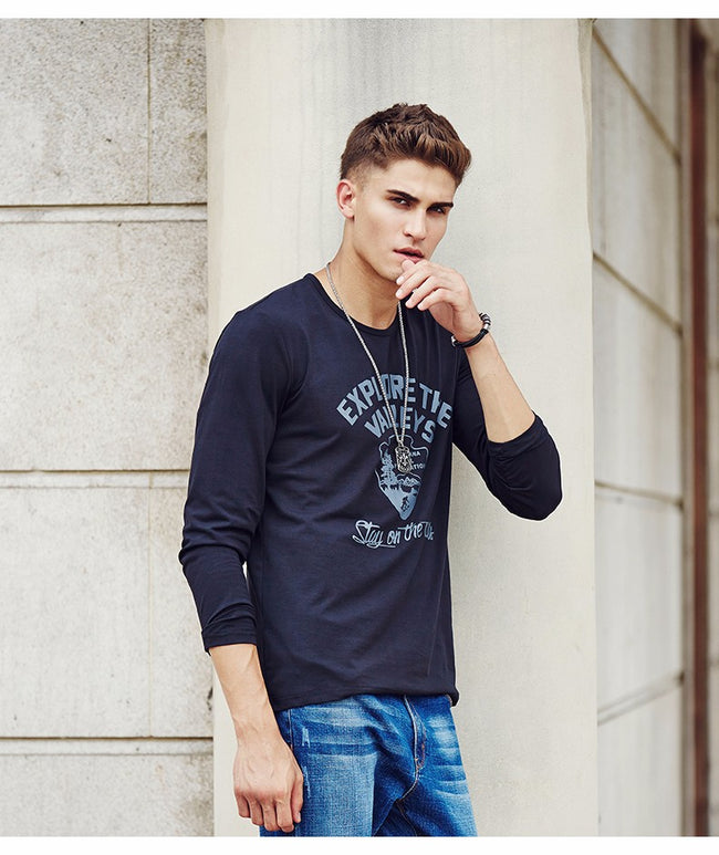 Black Mens Spring Autumn Long Sleeve O-Neck Print Elastic Casual T-Shirt