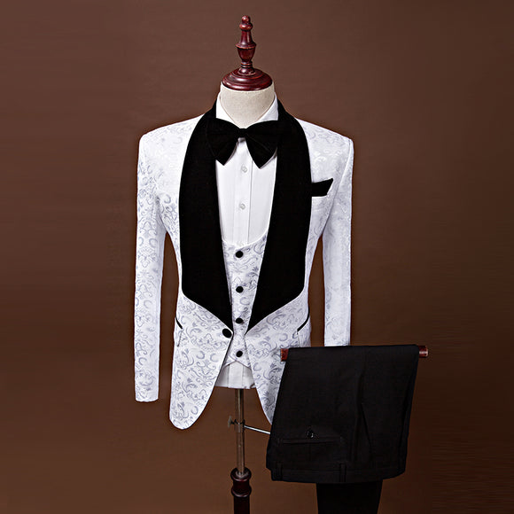 New Men Single Breasted Shawl Lapel Slim Fit Groom Tuxedos Prom Wedding Suits