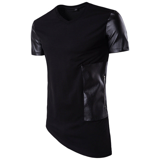 New Summer Men Short Sleeve V-Neck Leather Patchwork Slanting Hem Casual T-Shirt