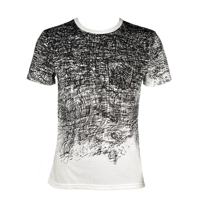 Men Summer Men Black and White Short Sleeve O-Neck Slim Fit Casual T-Shirt
