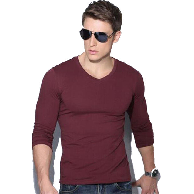 New Spring Autumn Men Long Sleeve V-Neck Solid Color Slim Fit Casual T Shirt
