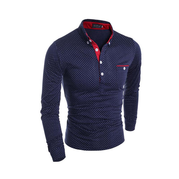 New Mens Long Sleeve Casual Polo Shirt Slim Polka Dot Pocket Button Polos