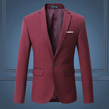 New Men Single Breasted Slim Fit Casual Suit Jackets Plus Size