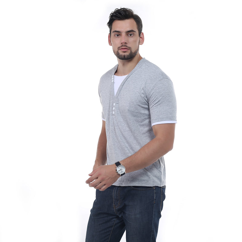New Summer Men Short Sleeve V-Neck Slim Fit Casual Fake Two T-Shirt