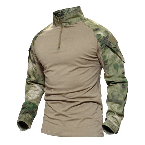 New Spring Summer Men Long Sleeve Stand Collar Camouflage Tactical Casual T Shirt