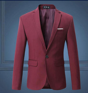 New Men Single Breasted Solid Color Slim Fit Tuxedo Suit Jackets