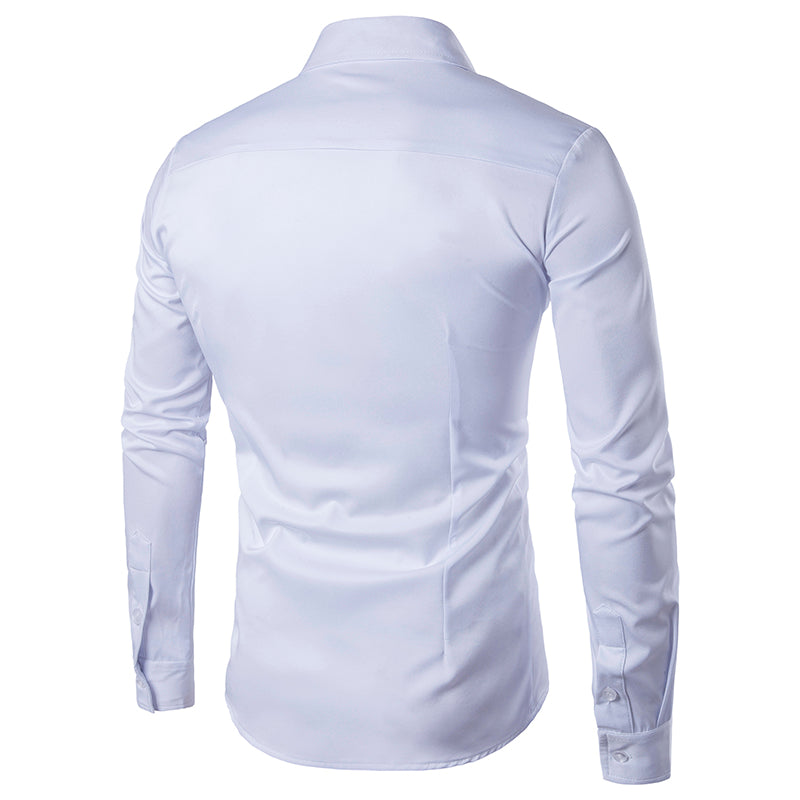 New Summer Mens Long Sleeve Slim Fit Shirt Embroidery Plaid Cotton Casual Shirts