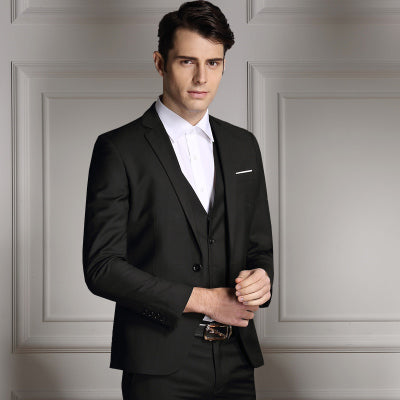 New Men Single Breasted Slim Fit Tuxedo Business Bridegroom Wedding Suits (Jackets+Vest+Pants)