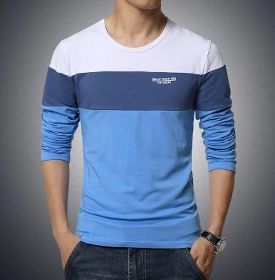 New Autumn Men Long Sleeve O-Neck Striped Casual T Shirt Plus Size
