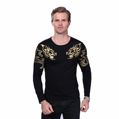 New Autumn Men Long Sleeve Dragon Printing Slim Fit T Shirt Plus Size