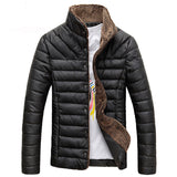 Winter Mens Mandarin Collar Button Pockets Single Breasted Solid Warm Casual Jacket