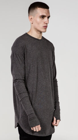 Mens Long Sleeve O-Neck Thumb Hole Side Split Hip Hop Loose Fit Casual T-Shirt