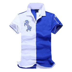 New Fashion Men Short Sleeve Embroidery Polo Shirts Cotton Blends Polos
