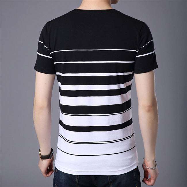 New Spring Summer Men Short Sleeve O-Neck Striped Print Casual T-Shirt