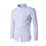 Men's Chinese Style Shirt Solid Color Mandarin Collar Long Sleeve Shirt