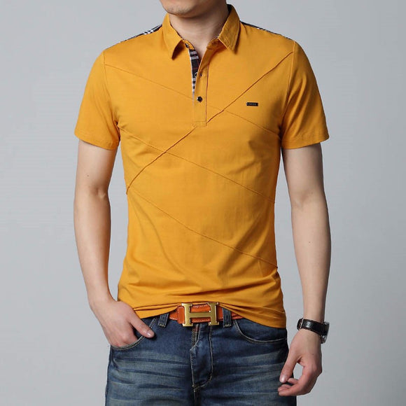 New Summber Men Shot Sleeve Turn-down Collar Cotton Slim Fit T-Shirt Plus Size