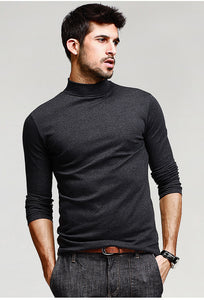 New Autumn Winter Men Long Sleeve Turtleneck Solid Color Slim Fit T-Shirts