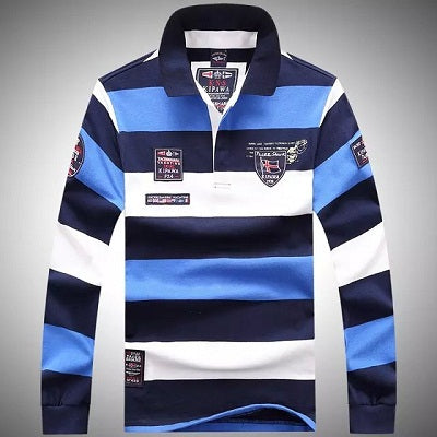 New Spring Autumn Men Long Sleeve Turn-down Collar Stripe Pullover Polos