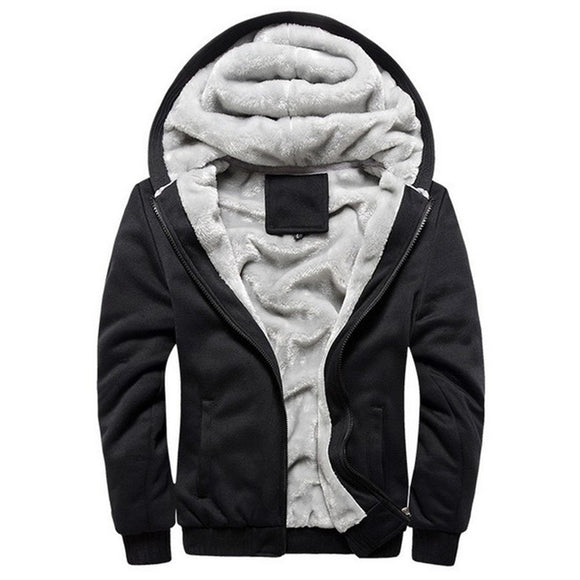 New Winter Autumn Mens Vintage Thick Fleece Jacket Zipper Pockets Casual Hooded Jackets