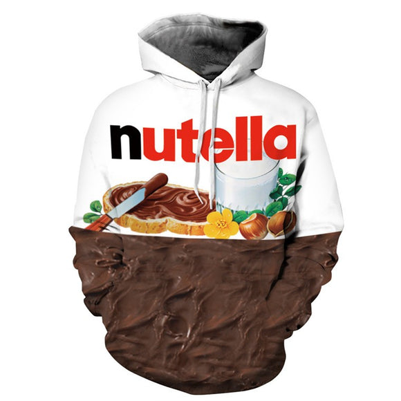 New Autumn Winter Mens Nutella Pattern 3D Print Hoodies Casual Style Personality Sweatshirts