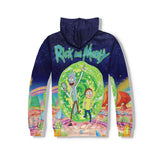 New Mens Rick and Morty Cartoon 3D Printing Hoodies Casual Pullover Sweatshirts