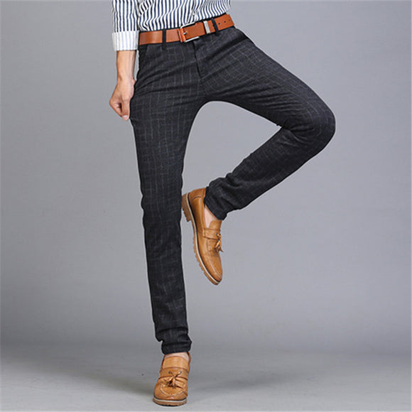 Spring Autumn Mens Plaid Zipper Mid-waist Cotton Slim Fit Business Casual Pencil Pants