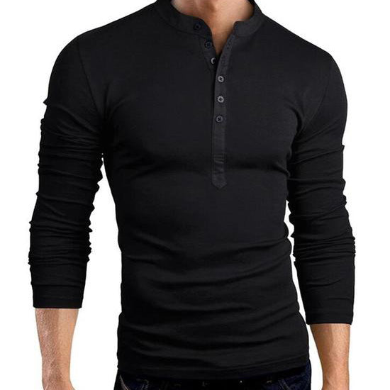 New Men Cotton Linen Shirt Stand Collar Casual Slim Fit Long-Sleeve Shirts