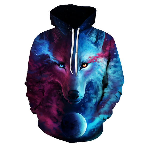 New Men Wolf 3D Print Hoodies Hip Hop Pullover Sweatshirts Plus Size