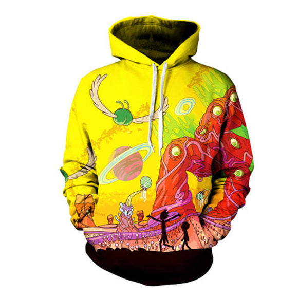 New Rick and Morty Alien 3D Printed Hoodies Trippy Planet Artwork Pullover Sweatshirt Plus Size