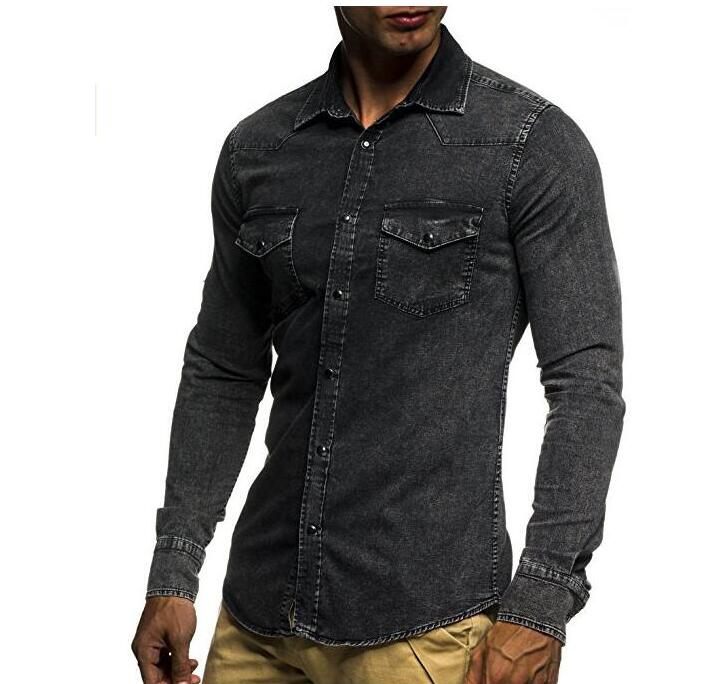 New Mens Long Sleeve Shirts Casual Solid Color Denim Slim Fit Dress Shirts