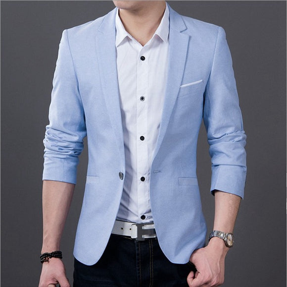 New Spring Autumn Men Single Breasted Plaid Slim Fit Casual Blazer