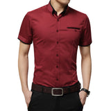 New Men's Summer Business Shirt Short Sleeves Turn-down Collar Tuxedo Shirt Plus Size