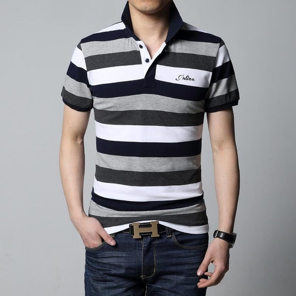 New Arrival Men Striped Lapel Shirt Slim Fit Casual Polo Shirts Plus Size
