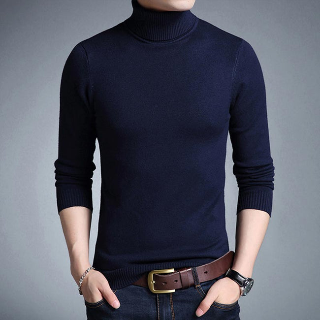 New Winter Men Turtleneck Solid Color Slim Fit Casual Comfortable Knitted Sweater