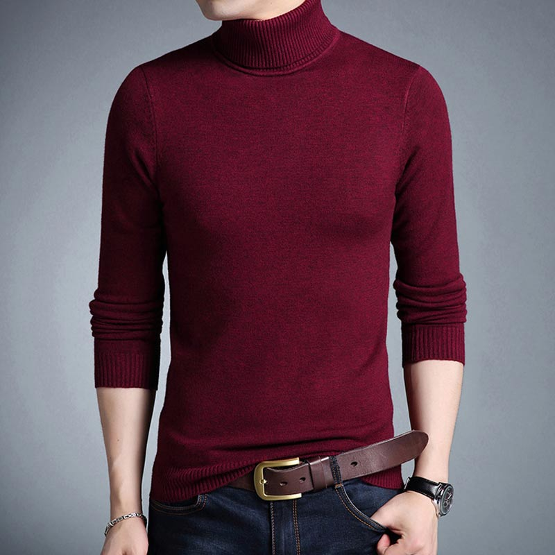 5d378343e38d ... New Winter Men Turtleneck Solid Color Slim Fit Casual Comfortable  Knitted Sweater ...