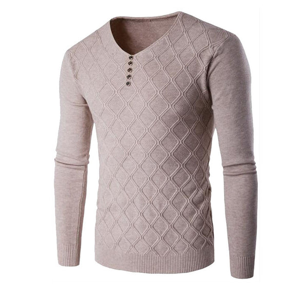 New Men Long Sleeve V-Neck Plush Hedging Square Grid Slim Fit Button Knitted Sweater