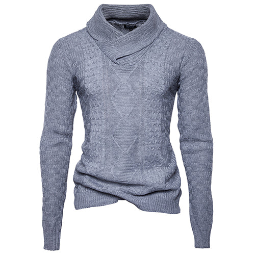 Autumn Winter Men Turtleneck Personality Decorative Pattern Solid Casual Knitted Sweater