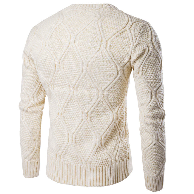 New Autumn Winter Men O-Neck Solid Color Thick Cotton Casua; Knitted Sweater