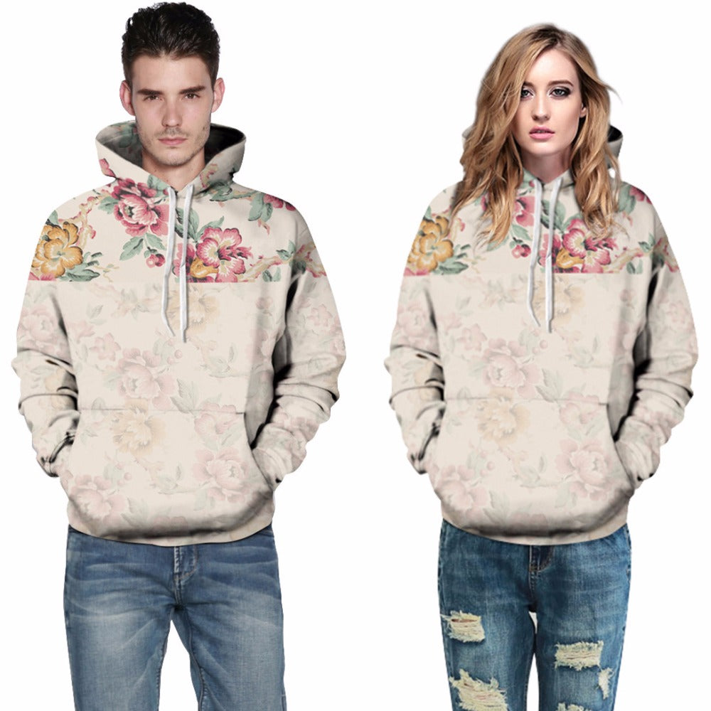New Fashion Men/Women Rose Flower 3D Print Pullover Hoodies Couples Streetwear Sweatshirts