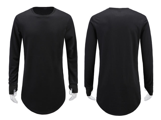 Mens Long Sleeve Hip Hop Street T-Shirt with Thumb Hole Cuffs Curved Hem Casual T-Shirts