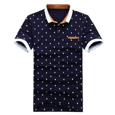 New Summer Men Short Sleeve Guitar Printed Stand Collar Polo Shirt Casual Slim Fit Polos