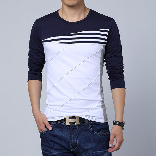 New Spring Autumn Men Long Sleeve O-Neck Patchwork Casual T Shirt Plus Size