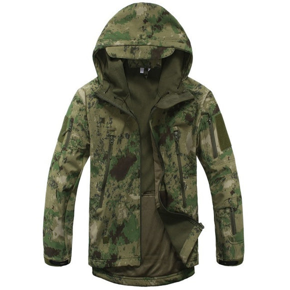 Mens Turn-down Collar Zipper Pockets Camouflage Windproof Warm Military Tactical Hooded Jackets