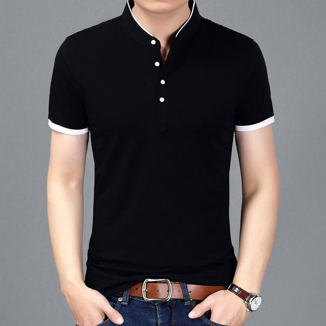 New Summer Men Short Sleeve Stand Collar Solid Color Slim Fit Casual T Shirt