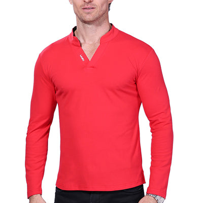 New Autumn Men Long Sleeve Solid Color Polo Shirt Slim Fit Shirt Casual Polos