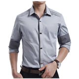 Men's Spring Autumn Cotton Dress Shirts Slim Fit Social Shirts Plus Size