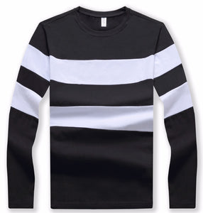 New Autumn Winter Mens Long Sleeve O-Neck Striped Cotton T Shirt