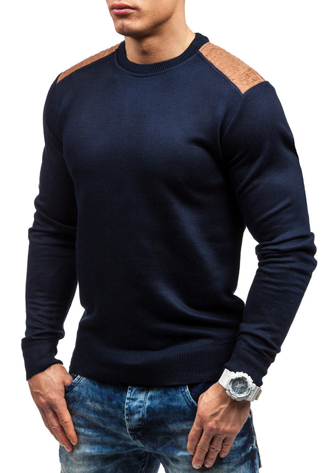New Spring Autumn Men O-Neck Suede Patch Hedging Loose Casual Knitted Sweater