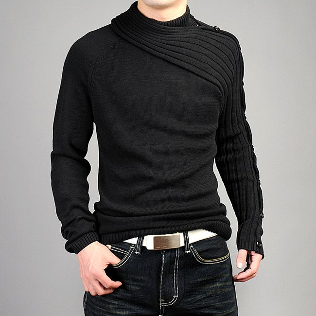New Winter Men Black/Gray Long Sleeve Turtleneck Personality Asymmetric Button Casual Sweaters