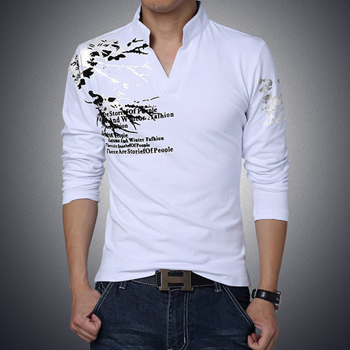 New Spring Autumn Men Long Sleeve V-Neck Print Slim Fit Casual T Shirt Plus Size